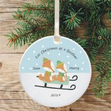 1st Christmas as a Brother Ceramic Xmas Tree Decoration - Fox and Sledge Design